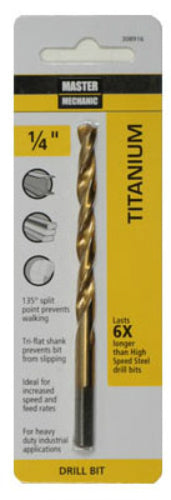"Master Mechanic 308916 Titanium Coated Jobber Length Drill Bit, 1/4"" x 4"""