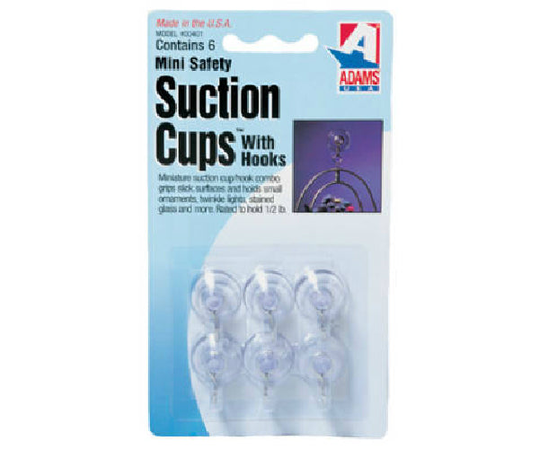 Adams 7000-75-3040 Mini Suction Cups with Hook, 4-Pack
