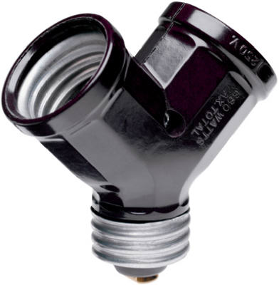 Pass & Seymour 128 Lampholder Adapter, 15A, 125V, 600W