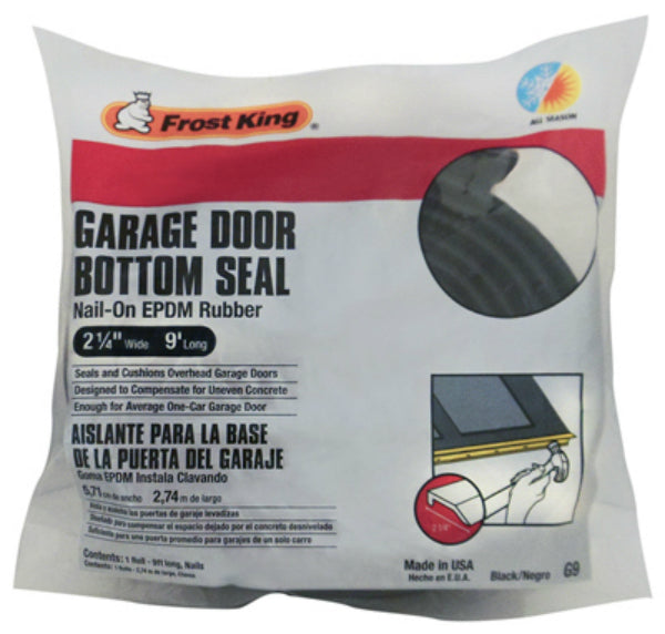 "Frost King® G9H Nail-On EPDM Rubber Garage Door Bottom Seal, Black, 2-1/4""x9'"