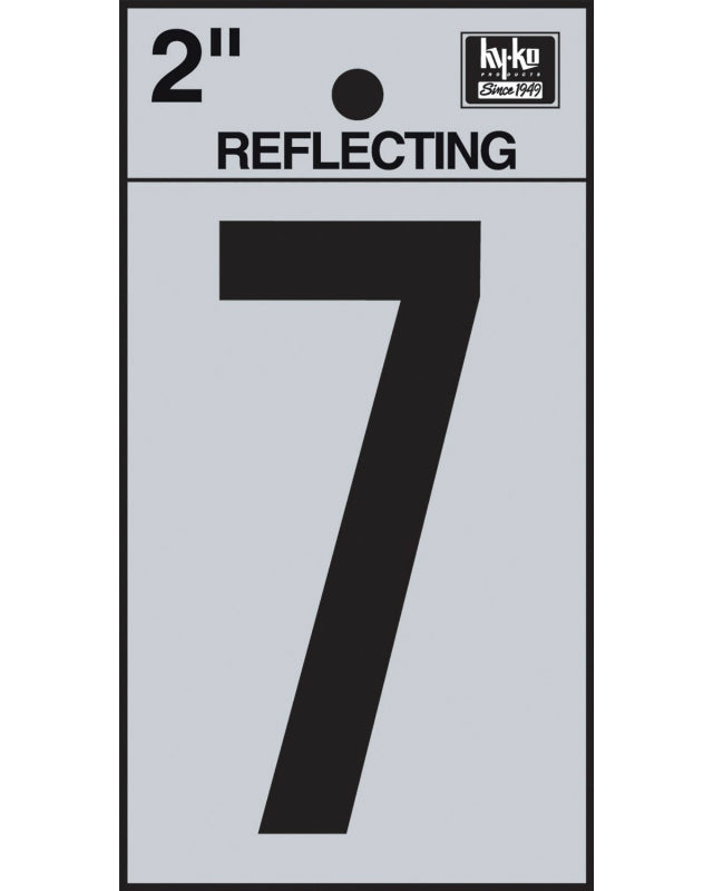 "Hy-Ko RV-25/7 Reflective Adhesive Vinyl Number 7 Sign, 2"", Black/Silver"