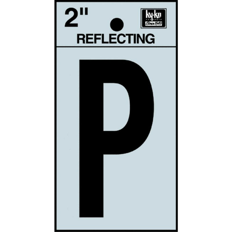 "Hy-Ko RV-25/P Reflective Adhesive Vinyl Letter P Sign, 2"", Black/Silver"