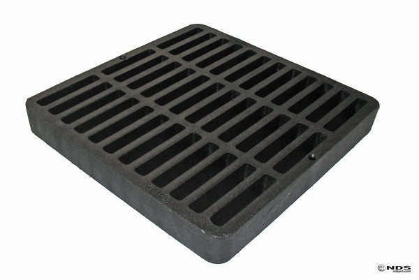 "NDS 980 Structural Foam Polyolefin Square Grate w/UV Inhibitors, 9"" x 9"", Black"