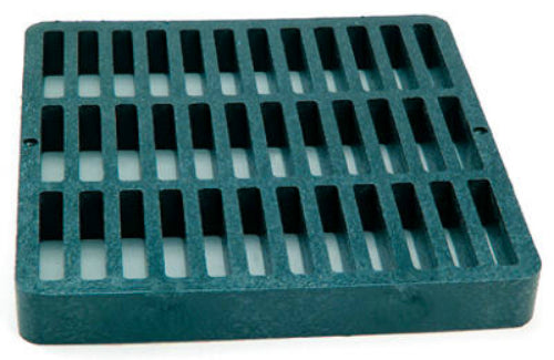 "NDS 990 Structural Foam Polyolefin Square Grate w/UV Inhibitors, 9"" x 9"", Green"