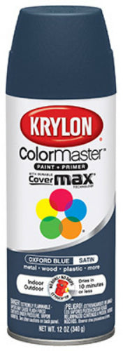 Krylon® K05352302 ColorMaster™ Paint & Primer, 12 Oz, Oxford Blue, Satin Finish