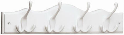 Brainerd® 62540 Scalloped Top Hook Rail with 4 Tri-Hook, White & White