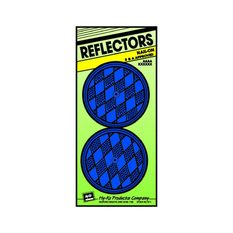 "Hy-Ko CDRF-5B Nail-On Reflector, 3-1/4"", Blue, 2-Pack"