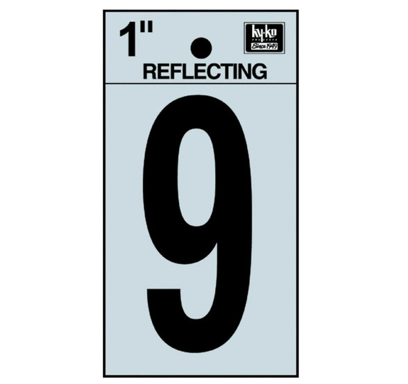 "Hy-Ko RV-15/9 Reflective Adhesive Vinyl Number 9 Sign, 1"", Black/Silver"