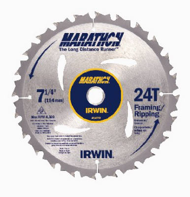 "Irwin Tools 14030 Carbide Tipped Marathon® Circular Saw Blade, 7-1/4"", 24T"
