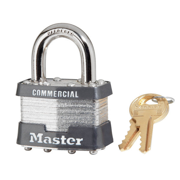 "Master Lock 1KA-2730 Laminated Steel Padlock 1-3/4"" with 15/16"" Long Shackle"