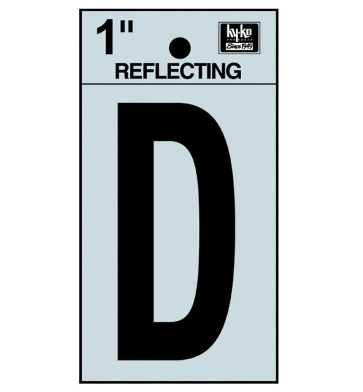 "Hy-Ko RV-15/D Reflective Adhesive Vinyl Letter D Sign, 1"", Black/Silver"