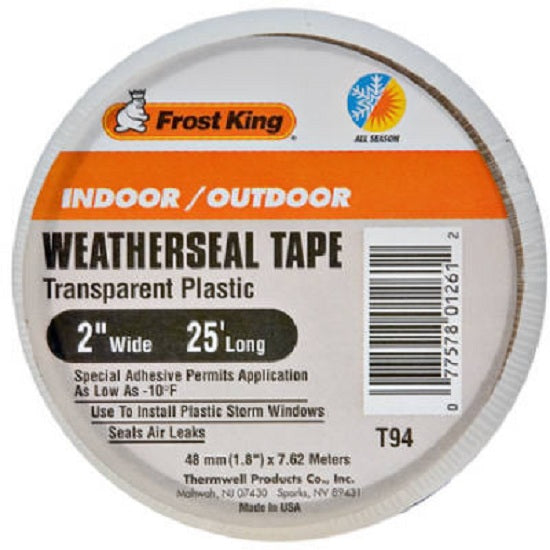 "Frost King T94H Indoor & Outdoor Weatherproofing Tape, Transparent Plastic, 2"" x 25'"