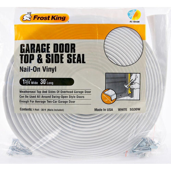 "Frost King® SG30WH Vinyl Garage Door Top & Side Weather Seal, White, 1-3/4""x30'"