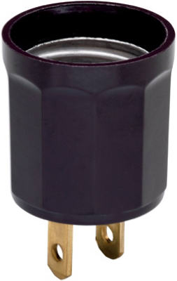 Pass & Seymour Outlet To Lampholder Adapter, 660W, 125V, Brown