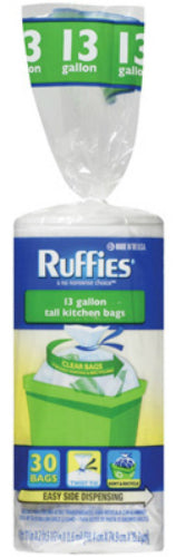 Ruffies® 981587 Tall Kitchen Recycling Bags, 13 Gallon, Clear, 30-Count