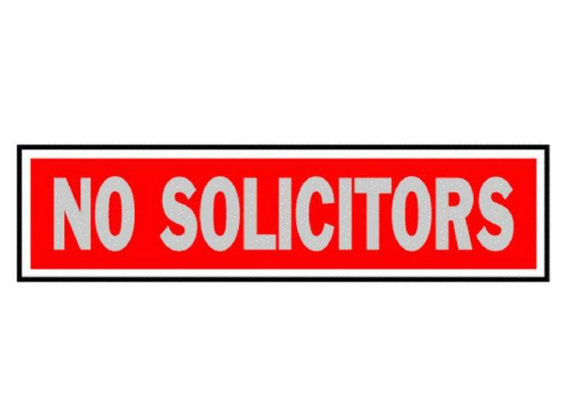 "Hy-Ko 427 No Solicitors Sign, 2"" x 8"", Red Background, Brushed Aluminum"