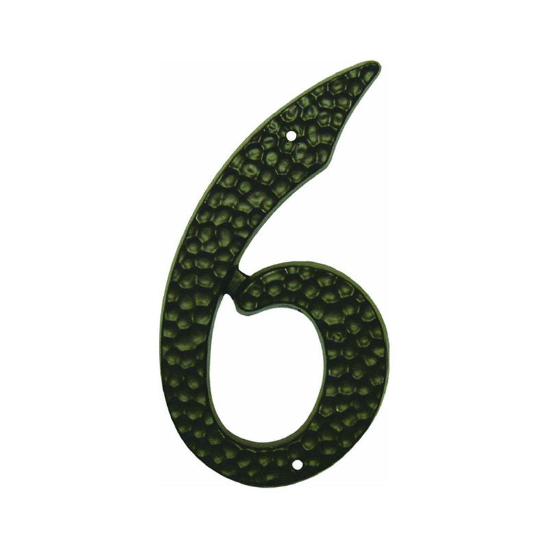 "Hy-Ko DC-3/6 Die-Cast Aluminum Number 6 Sign With Nails, 3-1/2"", Black"
