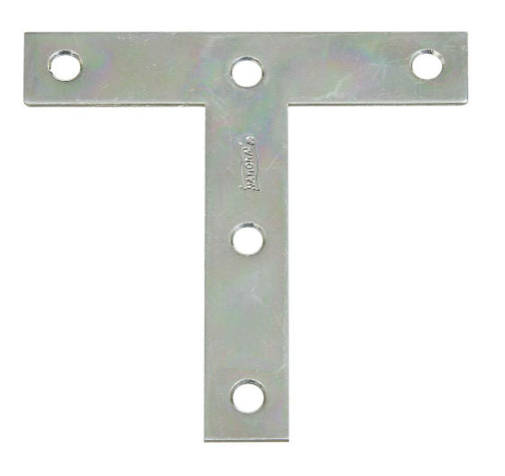 "National Hardware® N266-445 T-Plate, 4"" x 4"", Zinc Plated"