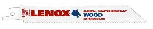 Lenox® 20561S610R Bi-Metal Reciprocating Saw Blade for Wood, 10 TPI, 6""