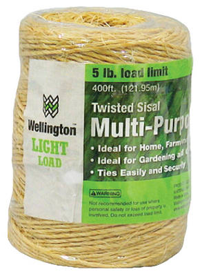 Wellington 43887 Twisted Sisal Multi-Purpose 1-Ply Twine, 400'