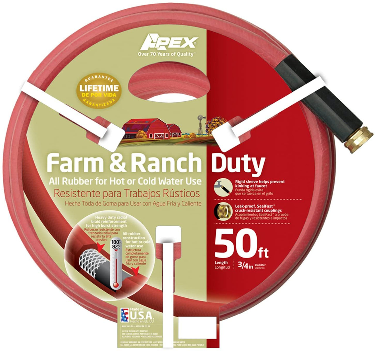 "Teknor Apex 969RR-50 Farm & Ranch Duty Hose, 3/4"" x 50'"