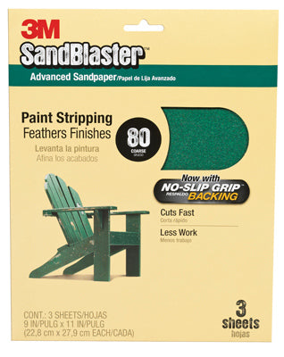 "3M 20080-G SandBlaster Sandpaper w/No Slip Grip Backing, 9""x11"", 80 Grit, 3-Pack"