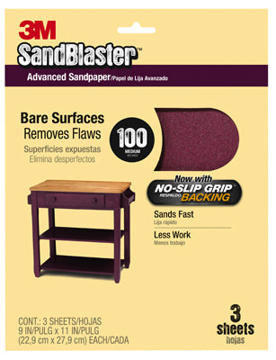 "3M 20100-G SandBlaster™ No Slip Grip™ Bare Surfaces Sandpaper, 9""x11"", Medium 100 Grit, 3-Pack"