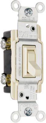 Pass & Seymour TradeMaster Grounding Toggle Switch, 15A, Ivory