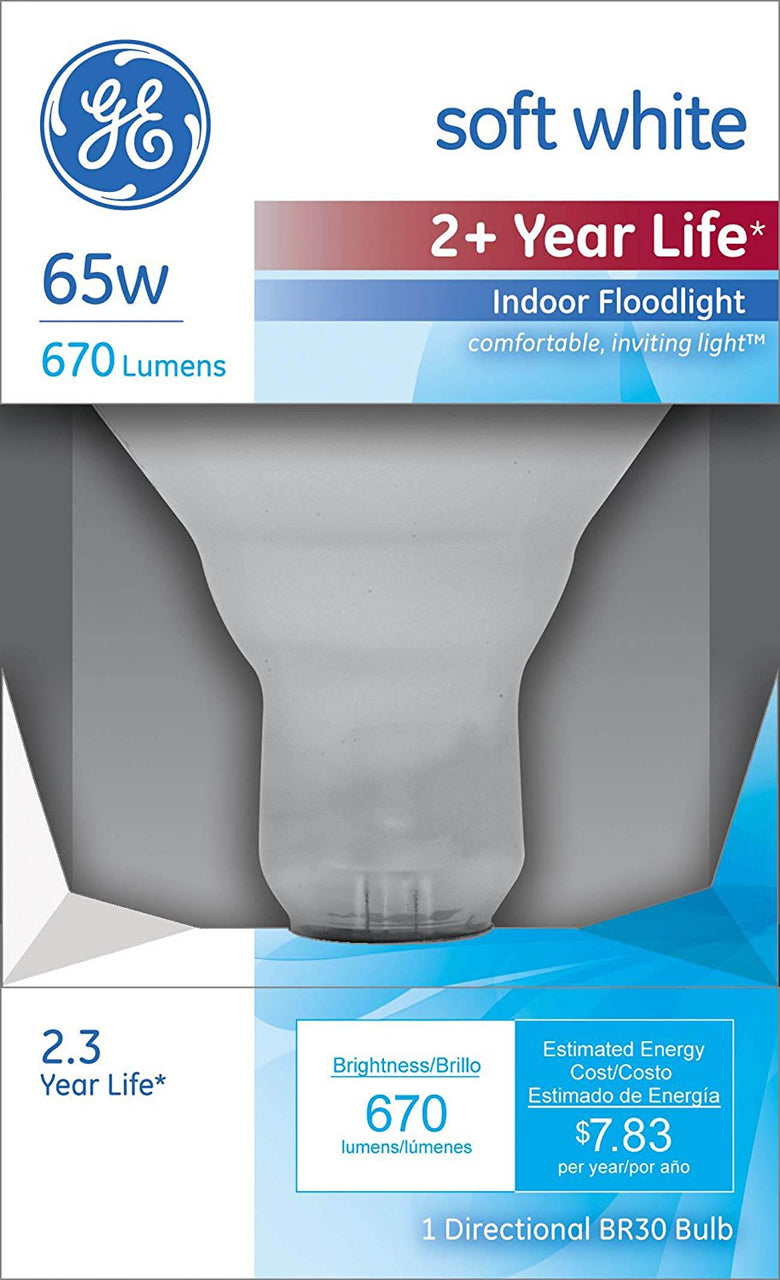 GE Lighting 26805 Reflector R30 Longlife Floodlight Bulb, 65W, Soft White