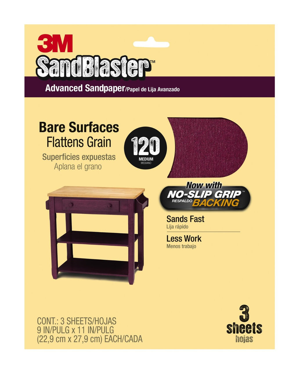 "3M 20120-G SandBlaster™ No Slip Grip™ Bare Surfaces Sandpaper, 9""x11"", 120 Grit, 3-Pack"