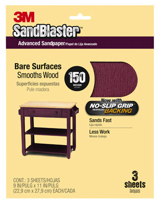 "3M 20150-G SandBlaster Sandpaper w/No Slip Grip backing, 9""x11"", 150 Grit, 3-Pk"