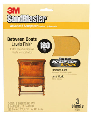 "3M 20180-G SandBlaster Sandpaper w/No Slip Grip backing, 9""x11"", 180 Grit, 3-Pk"