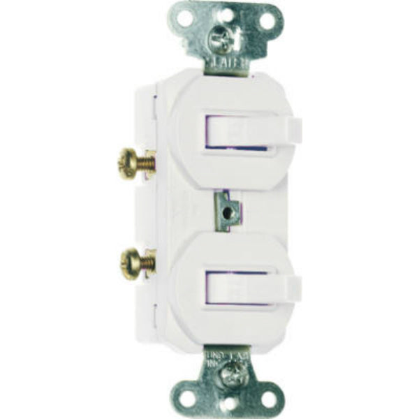 Pass & Seymour 2-Single Pole Switches, 15A, 120/277V, White