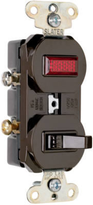 Pass & Seymour Combination Switch & Pilot Light, 15A, 120/125V, Brown