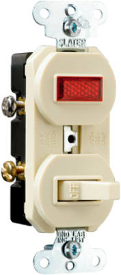 Pass & Seymour 692IGCC6 Combination Switch & Pilot Light, 15A, Ivory