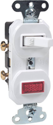 Pass & Seymour Single-Pole Combination Switch & Pilot Light, 15A, White