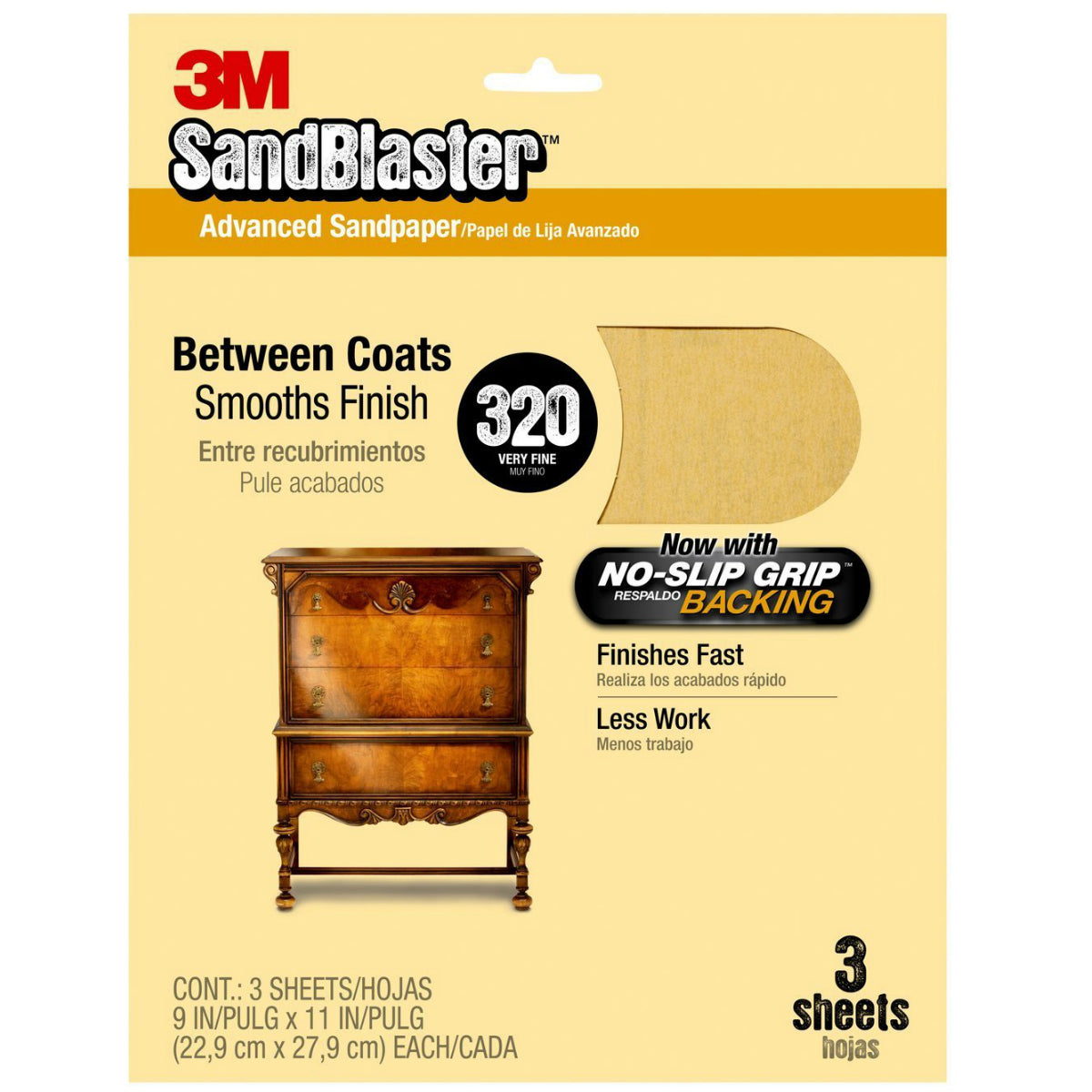 "3M 20320-G SandBlaster Sandpaper w/ No Slip Grip Backing, 9""x11"", 320 Grit, 3-Pk"