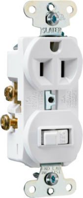 Pass & Seymour Combination Switch & Outlet, 15A, 120V, White