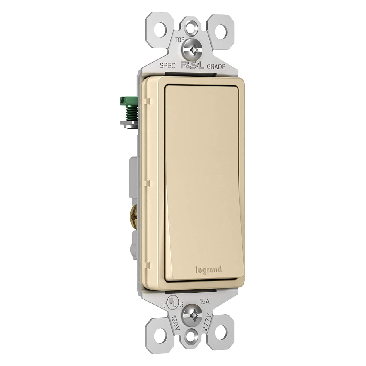 Pass & Seymour TM873ICC10 TradeMaster 3-Way Decorator Switch, Ivory, 15A