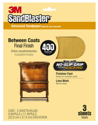 "3M 20400-G SandBlaster Sandpaper w/No Slip Grip Backing, 9""x11"", 400 Grit, 3-Pk"