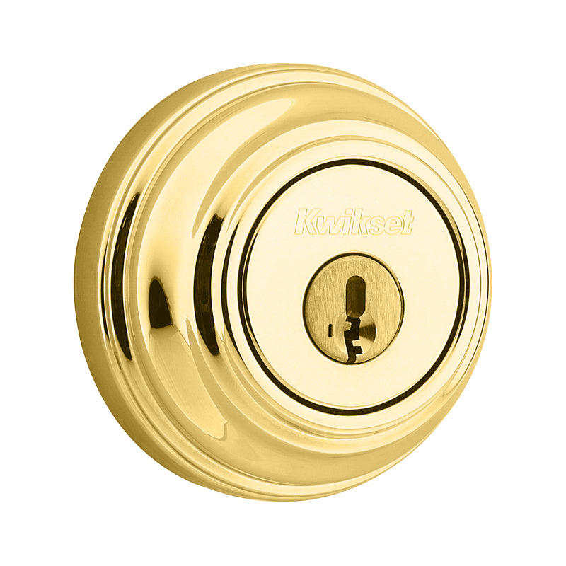 Kwikset® 980-3-SMT-CP-K4 Signature Single Cylinder Deadbolt, Polished Brass