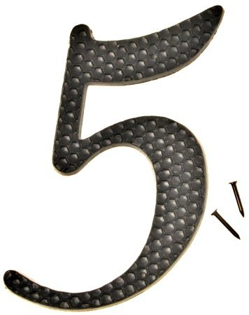 Hy-Ko DC-5/5 Die Cast Aluminum Number 5 Sign with Nails, 4-1/2 Inch, Black