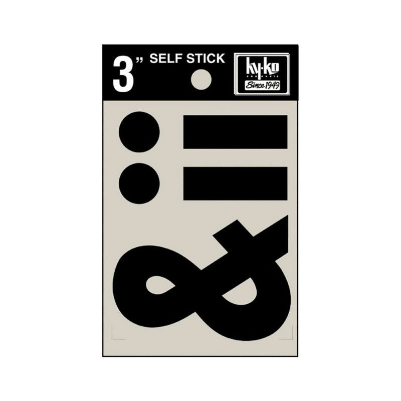 "Hy-Ko 30437 Self-Stick Vinyl Die-Cut Symbols Panel, 3"", Black"
