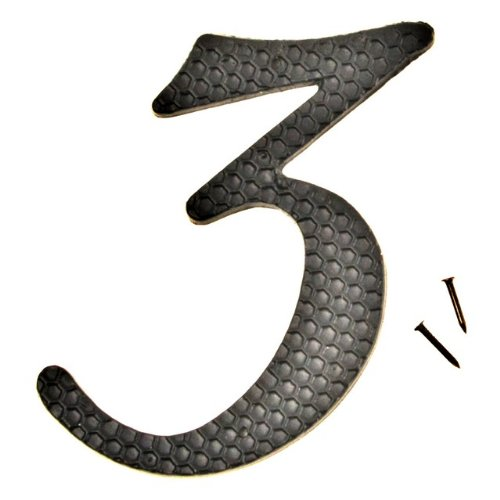 "Hy-Ko DC-5/3 Die-Cast Aluminum Number 3 Sign with Nails, 4-1/2"", Black"