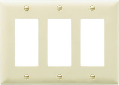 Pass & Seymour TP263ICC12 TradeMaster 3-Deco Nylon Wall Plate, 3-Gang, Ivory