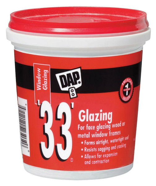 Dap® 12120 Glazing Compound, 1/2 Pint, White, #33