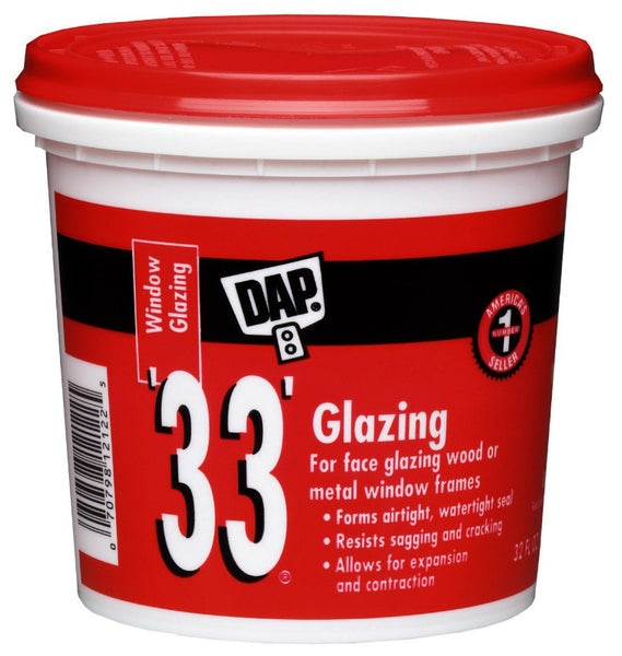 Dap® 12122 Glazing Compound, 1 Qt, White, #33