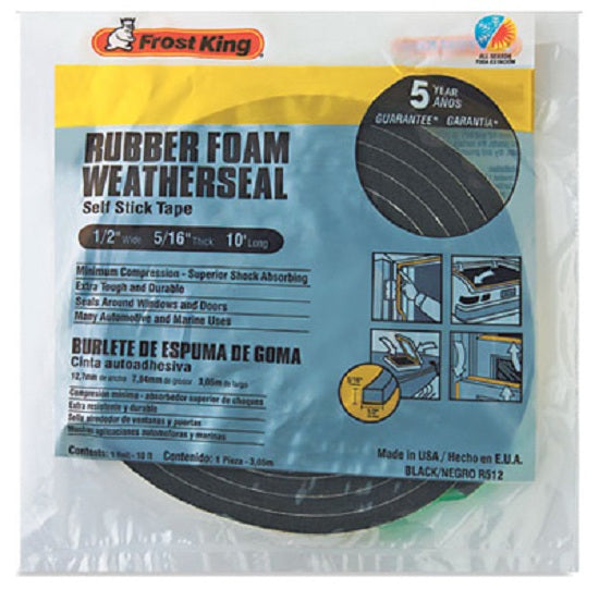 "Frost King R512H Premium Sponge Rubber Weather-Strip Tape, 1/2"" x 5/16"", Black"