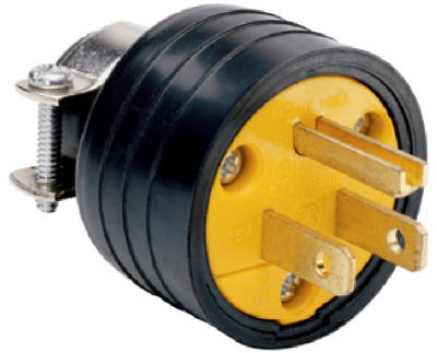 Pass & Seymour Residential Heavy Duty Rubber Construction Plug, 15A, 125V, Black