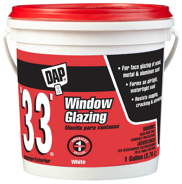 Dap® 12019 Glazing Compound, 1 Gallon, White, #33